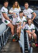24 April 2018; Lucan Sarsfields players Mark Carroll, age 12, left, and Erica Collins, age 14, pictured with John West ambassadors, from left, Cork hurler Eoin Cadogan, Roscommon ladies footballer Amanda McLoone and Dublin footballer Paul Mannion at the launch of the John West National Féile Competitions 2018. This is the third year that John West will sponsor the underage sports tournament which is one of the biggest events of its kind. Throughout their sponsorship of the Féile, a focus for John West has been to encourage children to take part and participate in GAA during school and beyond. Croke Park, Dublin. Photo by David Fitzgerald/Sportsfile