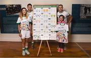 24 April 2018; Winner of the jersey design competition Aoibheann O'Neill, age 10, from Stoneyford, Co Kilkenny, pictured with John West ambassadors, from left, Roscommon ladies footballer Amanda McLoone, Cork hurler Eoin Cadogan and Dublin footballer Paul Mannion at the launch of the John West National Féile Competitions 2018. This is the third year that John West will sponsor the underage sports tournament which is one of the biggest events of its kind. Throughout their sponsorship of the Féile, a focus for John West has been to encourage children to take part and participate in GAA during school and beyond. Croke Park, Dublin. Photo by David Fitzgerald/Sportsfile