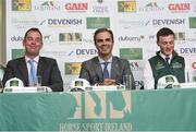 24 April 2018; Rodrigo Pessoa, Irish Show Jumping Team Manager, centre, with Team Ireland members, Cian O'Connor, left, and Michael Duffy during a Horse Sport Ireland press conference launching the 2018 Longines FEI Nations Cup Series at Punchestown Racecourse in Naas, Co. Kildare. Photo by Matt Browne/Sportsfile