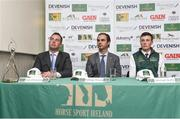 24 April 2018; Rodrigo Pessoa, Irish Show Jumping Team Manager, centre, with Team Ireland members, Cian O'Connor, left and Michael Duffy during a Horse Sport Ireland press conference launching the 2018 Longines FEI Nations Cup Series at Punchestown Racecourse in Naas, Co. Kildare. Photo by Matt Browne/Sportsfile