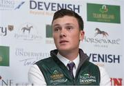 24 April 2018; Team Ireland member Michael Duffy during a Horse Sport Ireland press conference launching the 2018 Longines FEI Nations Cup Series at Punchestown Racecourse in Naas, Co. Kildare. Photo by Matt Browne/Sportsfile