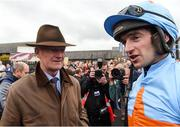 24 April 2018; Trainer Willie Mullins, left, with jockey Patrick Mullins after sending out Un De Sceaux to win the BoyleSports Champion Steeplechase with  at Punchestown Racecourse in Naas, Co. Kildare. Photo by Matt Browne/Sportsfile