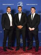 24 April 2018; On arrival at the Leinster Rugby Awards Ball are, from left, Jordi Murphy, Adam Byrne and Peter Dooley. The Awards, taking place at the InterContinental Dublin and MC'd by Darragh Maloney, were a celebration of the 2017/18 Leinster Rugby season to date and over the course of the evening Leinster Rugby acknowledged the contributions of retirees Isa Nacewa, Richardt Strauss and Jamie Heaslip as well as presenting Leinster Rugby caps to departees Jordi Murphy, Cathal Marsh and Peadar Timmins. Former Leinster and Ireland player Paul McNaughton was inducted into the Guinness Hall of Fame. Some of the other Award winners on the night included; Blackrock College (Deep River Rock School of the Year), Hugh Woodhouse, Mullingar RFC (Beauchamps Contribution to Leinster Rugby Award), MU Barnhall RFC (CityJet Senior Club of the Year), Gorey Community School (Irish Independent Development School of the Year Award), Wicklow RFC (Bank of Ireland Junior Club of the Year) and Nora Stapleton (Energia Women's Rugby Award). Photo by Ramsey Cardy/Sportsfile
