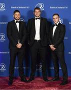 24 April 2018; On arrival at the Leinster Rugby Awards Ball are, from left, Ross Byrne, Ross Molony and Nick McCarthy. The Awards, taking place at the InterContinental Dublin and MC'd by Darragh Maloney, were a celebration of the 2017/18 Leinster Rugby season to date and over the course of the evening Leinster Rugby acknowledged the contributions of retirees Isa Nacewa, Richardt Strauss and Jamie Heaslip as well as presenting Leinster Rugby caps to departees Jordi Murphy, Cathal Marsh and Peadar Timmins. Former Leinster and Ireland player Paul McNaughton was inducted into the Guinness Hall of Fame. Some of the other Award winners on the night included; Blackrock College (Deep River Rock School of the Year), Hugh Woodhouse, Mullingar RFC (Beauchamps Contribution to Leinster Rugby Award), MU Barnhall RFC (CityJet Senior Club of the Year), Gorey Community School (Irish Independent Development School of the Year Award), Wicklow RFC (Bank of Ireland Junior Club of the Year) and Nora Stapleton (Energia Women's Rugby Award). Photo by Ramsey Cardy/Sportsfile