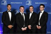 24 April 2018; On arrival at the Leinster Rugby Awards Ball are, from left, Adam Byrne, Peter Dooley, Josh van der Flier and Tom Daly. The Awards, taking place at the InterContinental Dublin and MC'd by Darragh Maloney, were a celebration of the 2017/18 Leinster Rugby season to date and over the course of the evening Leinster Rugby acknowledged the contributions of retirees Isa Nacewa, Richardt Strauss and Jamie Heaslip as well as presenting Leinster Rugby caps to departees Jordi Murphy, Cathal Marsh and Peadar Timmins. Former Leinster and Ireland player Paul McNaughton was inducted into the Guinness Hall of Fame. Some of the other Award winners on the night included; Blackrock College (Deep River Rock School of the Year), Hugh Woodhouse, Mullingar RFC (Beauchamps Contribution to Leinster Rugby Award), MU Barnhall RFC (CityJet Senior Club of the Year), Gorey Community School (Irish Independent Development School of the Year Award), Wicklow RFC (Bank of Ireland Junior Club of the Year) and Nora Stapleton (Energia Women's Rugby Award). Photo by Ramsey Cardy/Sportsfile