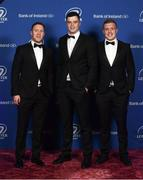 24 April 2018; On arrival at the Leinster Rugby Awards Ball are, from left, Rory O'Loughlin, James Ryan and Dan Leavy. The Awards, taking place at the InterContinental Dublin and MC'd by Darragh Maloney, were a celebration of the 2017/18 Leinster Rugby season to date and over the course of the evening Leinster Rugby acknowledged the contributions of retirees Isa Nacewa, Richardt Strauss and Jamie Heaslip as well as presenting Leinster Rugby caps to departees Jordi Murphy, Cathal Marsh and Peadar Timmins. Former Leinster and Ireland player Paul McNaughton was inducted into the Guinness Hall of Fame. Some of the other Award winners on the night included; Blackrock College (Deep River Rock School of the Year), Hugh Woodhouse, Mullingar RFC (Beauchamps Contribution to Leinster Rugby Award), MU Barnhall RFC (CityJet Senior Club of the Year), Gorey Community School (Irish Independent Development School of the Year Award), Wicklow RFC (Bank of Ireland Junior Club of the Year) and Nora Stapleton (Energia Women's Rugby Award). Photo by Ramsey Cardy/Sportsfile