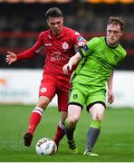 24 April 2018; Sean Trimble of Drogheda United in action against Dayle Rooney of Shelbourne during the EA SPORTS Cup Second Round match between Shelbourne and Drogheda United at Tolka Park in Dublin. Photo by Eóin Noonan/Sportsfile