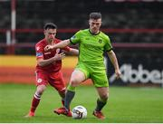 24 April 2018; Kealan Dillon of Drogheda United in action against Dylan Grimes of Shelbourne during the EA SPORTS Cup Second Round match between Shelbourne and Drogheda United at Tolka Park in Dublin. Photo by Eóin Noonan/Sportsfile