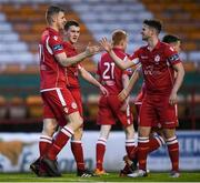 24 April 2018; Jamie Doyle of Shelbourne celebrates with team-mates after scoring his side's fifth goal  during the EA SPORTS Cup Second Round match between Shelbourne and Drogheda United at Tolka Park in Dublin. Photo by Eóin Noonan/Sportsfile