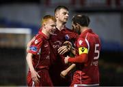 24 April 2018; Shane Farrell, left, of Shelbourne celebrates with team-mates after scoring his side's sixth goal during the EA SPORTS Cup Second Round match between Shelbourne and Drogheda United at Tolka Park in Dublin. Photo by Eóin Noonan/Sportsfile
