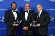 24 April 2018; Isa Nacewa, left, and Richardt Strauss are presented with their Leinster caps on the occasion of their retirement by Niall Rynne, President of Leinster Rugby. The Awards, taking place at the InterContinental Dublin and MC'd by Darragh Maloney, were a celebration of the 2017/18 Leinster Rugby season to date and over the course of the evening Leinster Rugby acknowledged the contributions of retirees Isa Nacewa, Richardt Strauss and Jamie Heaslip as well as presenting Leinster Rugby caps to departees Jordi Murphy, Cathal Marsh and Peadar Timmins. Former Leinster and Ireland player Paul McNaughton was inducted into the Guinness Hall of Fame. Some of the other Award winners on the night included; Blackrock College (Deep River Rock School of the Year), Hugh Woodhouse, Mullingar RFC (Beauchamps Contribution to Leinster Rugby Award), MU Barnhall RFC (CityJet Senior Club of the Year), Gorey Community School (Irish Independent Development School of the Year Award), Wicklow RFC (Bank of Ireland Junior Club of the Year) and Nora Stapleton (Energia Women's Rugby Award). Photo by Brendan Moran/Sportsfile
