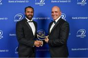 24 April 2018; Isa Nacewa is presented with his Leinster cap on the occasion of his retirement by Niall Rynne, President of Leinster Rugby. The Awards, taking place at the InterContinental Dublin and MC'd by Darragh Maloney, were a celebration of the 2017/18 Leinster Rugby season to date and over the course of the evening Leinster Rugby acknowledged the contributions of retirees Isa Nacewa, Richardt Strauss and Jamie Heaslip as well as presenting Leinster Rugby caps to departees Jordi Murphy, Cathal Marsh and Peadar Timmins. Former Leinster and Ireland player Paul McNaughton was inducted into the Guinness Hall of Fame. Some of the other Award winners on the night included; Blackrock College (Deep River Rock School of the Year), Hugh Woodhouse, Mullingar RFC (Beauchamps Contribution to Leinster Rugby Award), MU Barnhall RFC (CityJet Senior Club of the Year), Gorey Community School (Irish Independent Development School of the Year Award), Wicklow RFC (Bank of Ireland Junior Club of the Year) and Nora Stapleton (Energia Women's Rugby Award). Photo by Brendan Moran/Sportsfile