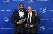 24 April 2018; Isa Nacewa, left, and Richardt Strauss with their Leinster caps on the occasion of their retirement. The Awards, taking place at the InterContinental Dublin and MC'd by Darragh Maloney, were a celebration of the 2017/18 Leinster Rugby season to date and over the course of the evening Leinster Rugby acknowledged the contributions of retirees Isa Nacewa, Richardt Strauss and Jamie Heaslip as well as presenting Leinster Rugby caps to departees Jordi Murphy, Cathal Marsh and Peadar Timmins. Former Leinster and Ireland player Paul McNaughton was inducted into the Guinness Hall of Fame. Some of the other Award winners on the night included; Blackrock College (Deep River Rock School of the Year), Hugh Woodhouse, Mullingar RFC (Beauchamps Contribution to Leinster Rugby Award), MU Barnhall RFC (CityJet Senior Club of the Year), Gorey Community School (Irish Independent Development School of the Year Award), Wicklow RFC (Bank of Ireland Junior Club of the Year) and Nora Stapleton (Energia Women's Rugby Award). Photo by Brendan Moran/Sportsfile