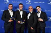 24 April 2018; Jordi Murphy, left, Peadar Timmins, 2nd from left, and Cathal Marsh, right, are presented with their Leinster caps on the occasion of their departure from the province at the end of the season by President of Leinster Rugby Niall Rynne. The Awards, taking place at the InterContinental Dublin and MC'd by Darragh Maloney, were a celebration of the 2017/18 Leinster Rugby season to date and over the course of the evening Leinster Rugby acknowledged the contributions of retirees Isa Nacewa, Richardt Strauss and Jamie Heaslip as well as presenting Leinster Rugby caps to departees Jordi Murphy, Cathal Marsh and Peadar Timmins. Former Leinster and Ireland player Paul McNaughton was inducted into the Guinness Hall of Fame. Some of the other Award winners on the night included; Blackrock College (Deep River Rock School of the Year), Hugh Woodhouse, Mullingar RFC (Beauchamps Contribution to Leinster Rugby Award), MU Barnhall RFC (CityJet Senior Club of the Year), Gorey Community School (Irish Independent Development School of the Year Award), Wicklow RFC (Bank of Ireland Junior Club of the Year) and Nora Stapleton (Energia Women's Rugby Award). Photo by Brendan Moran/Sportsfile