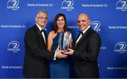 24 April 2018; Nora Stapleton is presented with the Energia Women's Rugby award by Gary Ryan, MD of Energia, left, and President of Leinster Rugby Niall Rynne. The Awards, taking place at the InterContinental Dublin and MC'd by Darragh Maloney, were a celebration of the 2017/18 Leinster Rugby season to date and over the course of the evening Leinster Rugby acknowledged the contributions of retirees Isa Nacewa, Richardt Strauss and Jamie Heaslip as well as presenting Leinster Rugby caps to departees Jordi Murphy, Cathal Marsh and Peadar Timmins. Former Leinster and Ireland player Paul McNaughton was inducted into the Guinness Hall of Fame. Some of the other Award winners on the night included; Blackrock College (Deep River Rock School of the Year), Hugh Woodhouse, Mullingar RFC (Beauchamps Contribution to Leinster Rugby Award), MU Barnhall RFC (CityJet Senior Club of the Year), Gorey Community School (Irish Independent Development School of the Year Award), Wicklow RFC (Bank of Ireland Junior Club of the Year) and Nora Stapleton (Energia Women's Rugby Award). Photo by Brendan Moran/Sportsfile