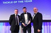 24 April 2018; Fergus McFadden is presented with the Canterbury Tackle of the Year award, presented by Sean Kavanagh, Head of Global Sports Marketing & Sponsorship, Canterbury, and Leinster Rugby President Niall Rynne. The Awards, taking place at the InterContinental Dublin and MC'd by Darragh Maloney, were a celebration of the 2017/18 Leinster Rugby season to date and over the course of the evening Leinster Rugby acknowledged the contributions of retirees Isa Nacewa, Richardt Strauss and Jamie Heaslip as well as presenting Leinster Rugby caps to departees Jordi Murphy, Cathal Marsh and Peadar Timmins. Former Leinster and Ireland player Paul McNaughton was inducted into the Guinness Hall of Fame. Some of the other Award winners on the night included; Blackrock College (Deep River Rock School of the Year), Hugh Woodhouse, Mullingar RFC (Beauchamps Contribution to Leinster Rugby Award), MU Barnhall RFC (CityJet Senior Club of the Year), Gorey Community School (Irish Independent Development School of the Year Award), Wicklow RFC (Bank of Ireland Junior Club of the Year) and Nora Stapleton (Energia Women's Rugby Award). Photo by Ramsey Cardy/Sportsfile