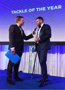 24 April 2018; Fergus McFadden with the Canterbury Tackle of the Year award. The Awards, taking place at the InterContinental Dublin and MC'd by Darragh Maloney, were a celebration of the 2017/18 Leinster Rugby season to date and over the course of the evening Leinster Rugby acknowledged the contributions of retirees Isa Nacewa, Richardt Strauss and Jamie Heaslip as well as presenting Leinster Rugby caps to departees Jordi Murphy, Cathal Marsh and Peadar Timmins. Former Leinster and Ireland player Paul McNaughton was inducted into the Guinness Hall of Fame. Some of the other Award winners on the night included; Blackrock College (Deep River Rock School of the Year), Hugh Woodhouse, Mullingar RFC (Beauchamps Contribution to Leinster Rugby Award), MU Barnhall RFC (CityJet Senior Club of the Year), Gorey Community School (Irish Independent Development School of the Year Award), Wicklow RFC (Bank of Ireland Junior Club of the Year) and Nora Stapleton (Energia Women's Rugby Award). Photo by Ramsey Cardy/Sportsfile
