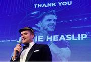 24 April 2018; Recently retired Leinster player Jamie Heaslip during the awards ball. The Awards, taking place at the InterContinental Dublin and MC'd by Darragh Maloney, were a celebration of the 2017/18 Leinster Rugby season to date and over the course of the evening Leinster Rugby acknowledged the contributions of retirees Isa Nacewa, Richardt Strauss and Jamie Heaslip as well as presenting Leinster Rugby caps to departees Jordi Murphy, Cathal Marsh and Peadar Timmins. Former Leinster and Ireland player Paul McNaughton was inducted into the Guinness Hall of Fame. Some of the other Award winners on the night included; Blackrock College (Deep River Rock School of the Year), Hugh Woodhouse, Mullingar RFC (Beauchamps Contribution to Leinster Rugby Award), MU Barnhall RFC (CityJet Senior Club of the Year), Gorey Community School (Irish Independent Development School of the Year Award), Wicklow RFC (Bank of Ireland Junior Club of the Year) and Nora Stapleton (Energia Women's Rugby Award). Photo by Ramsey Cardy/Sportsfile