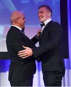 24 April 2018; Dan Leavy is presented with the Bank of Ireland Player's Player of the Year award by Leinster Rugby President Niall Rynne. The Awards, taking place at the InterContinental Dublin and MC'd by Darragh Maloney, were a celebration of the 2017/18 Leinster Rugby season to date and over the course of the evening Leinster Rugby acknowledged the contributions of retirees Isa Nacewa, Richardt Strauss and Jamie Heaslip as well as presenting Leinster Rugby caps to departees Jordi Murphy, Cathal Marsh and Peadar Timmins. Former Leinster and Ireland player Paul McNaughton was inducted into the Guinness Hall of Fame. Some of the other Award winners on the night included; Blackrock College (Deep River Rock School of the Year), Hugh Woodhouse, Mullingar RFC (Beauchamps Contribution to Leinster Rugby Award), MU Barnhall RFC (CityJet Senior Club of the Year), Gorey Community School (Irish Independent Development School of the Year Award), Wicklow RFC (Bank of Ireland Junior Club of the Year) and Nora Stapleton (Energia Women's Rugby Award). Photo by Ramsey Cardy/Sportsfile