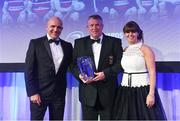 24 April 2018; Brendan Nicholson, President, Wicklow RFC, accepts the award on behalf of Wicklow RFC for the Bank of Ireland Junior Club of the Year award, presented by Sharon Woods, Bank of Ireland, and Leinster Rugby president Niall Rynne. The Awards, taking place at the InterContinental Dublin and MC'd by Darragh Maloney, were a celebration of the 2017/18 Leinster Rugby season to date and over the course of the evening Leinster Rugby acknowledged the contributions of retirees Isa Nacewa, Richardt Strauss and Jamie Heaslip as well as presenting Leinster Rugby caps to departees Jordi Murphy, Cathal Marsh and Peadar Timmins. Former Leinster and Ireland player Paul McNaughton was inducted into the Guinness Hall of Fame. Some of the other Award winners on the night included; Blackrock College (Deep River Rock School of the Year), Hugh Woodhouse, Mullingar RFC (Beauchamps Contribution to Leinster Rugby Award), MU Barnhall RFC (CityJet Senior Club of the Year), Gorey Community School (Irish Independent Development School of the Year Award), Wicklow RFC (Bank of Ireland Junior Club of the Year) and Nora Stapleton (Energia Women's Rugby Award). Photo by Ramsey Cardy/Sportsfile