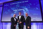 24 April 2018; Dan Leavy is presented with the Bank of Ireland Player's Player of the Year award by Oliver Wall, Chief of Staff, Bank of Ireland, and Leinster Rugby President Niall Rynne. The Awards, taking place at the InterContinental Dublin and MC'd by Darragh Maloney, were a celebration of the 2017/18 Leinster Rugby season to date and over the course of the evening Leinster Rugby acknowledged the contributions of retirees Isa Nacewa, Richardt Strauss and Jamie Heaslip as well as presenting Leinster Rugby caps to departees Jordi Murphy, Cathal Marsh and Peadar Timmins. Former Leinster and Ireland player Paul McNaughton was inducted into the Guinness Hall of Fame. Some of the other Award winners on the night included; Blackrock College (Deep River Rock School of the Year), Hugh Woodhouse, Mullingar RFC (Beauchamps Contribution to Leinster Rugby Award), MU Barnhall RFC (CityJet Senior Club of the Year), Gorey Community School (Irish Independent Development School of the Year Award), Wicklow RFC (Bank of Ireland Junior Club of the Year) and Nora Stapleton (Energia Women's Rugby Award). Photo by Ramsey Cardy/Sportsfile