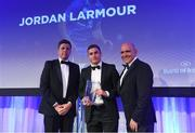 24 April 2018; Jordan Larmour is presented with the Irish Independent Try of the Year award presented by Ruaidhri O'Connor, Irish Independent Rugby Correspondent, and Leinster Rugby President Niall Rynne. The Awards, taking place at the InterContinental Dublin and MC'd by Darragh Maloney, were a celebration of the 2017/18 Leinster Rugby season to date and over the course of the evening Leinster Rugby acknowledged the contributions of retirees Isa Nacewa, Richardt Strauss and Jamie Heaslip as well as presenting Leinster Rugby caps to departees Jordi Murphy, Cathal Marsh and Peadar Timmins. Former Leinster and Ireland player Paul McNaughton was inducted into the Guinness Hall of Fame. Some of the other Award winners on the night included; Blackrock College (Deep River Rock School of the Year), Hugh Woodhouse, Mullingar RFC (Beauchamps Contribution to Leinster Rugby Award), MU Barnhall RFC (CityJet Senior Club of the Year), Gorey Community School (Irish Independent Development School of the Year Award), Wicklow RFC (Bank of Ireland Junior Club of the Year) and Nora Stapleton (Energia Women's Rugby Award). Photo by Ramsey Cardy/Sportsfile