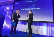 24 April 2018; Jordan Larmour with the Irish Independent Try of the Year award. The Awards, taking place at the InterContinental Dublin and MC'd by Darragh Maloney, were a celebration of the 2017/18 Leinster Rugby season to date and over the course of the evening Leinster Rugby acknowledged the contributions of retirees Isa Nacewa, Richardt Strauss and Jamie Heaslip as well as presenting Leinster Rugby caps to departees Jordi Murphy, Cathal Marsh and Peadar Timmins. Former Leinster and Ireland player Paul McNaughton was inducted into the Guinness Hall of Fame. Some of the other Award winners on the night included; Blackrock College (Deep River Rock School of the Year), Hugh Woodhouse, Mullingar RFC (Beauchamps Contribution to Leinster Rugby Award), MU Barnhall RFC (CityJet Senior Club of the Year), Gorey Community School (Irish Independent Development School of the Year Award), Wicklow RFC (Bank of Ireland Junior Club of the Year) and Nora Stapleton (Energia Women's Rugby Award). Photo by Ramsey Cardy/Sportsfile