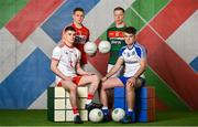 25 April 2018; U20's players, from left, Conor Shields of Tyrone, Liam O'Donovan of Cork, Ryan O' Donoghue of Mayo and Fergal Hanratty of Monaghan at the launch of the EirGrid GAA Football U20 All-Ireland Championship. EirGrid, the state-owned company that manages and develops Ireland's electricity grid, enters its first year of sponsoring this competition after being title sponsor of the EirGrid GAA U21 Football Championship since 2015. #EirGridGAA . Photo by Brendan Moran/Sportsfile