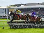 25 April 2018; Prince Garyantle, left, with Adam Short up, jumps the sixth on their way to winning the Adare Manor Opportunity Series Final Handicap Hurdle at Punchestown Racecourse in Naas, Co. Kildare. Photo by Seb Daly/Sportsfile
