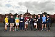 26 April 2018; In attendance at the Leinster GAA Senior Hurling Championship 2018 Launch are, from left, David Dunne of Wexford, Wexford selector Seoirse Bulfin, David King of Offaly, Offaly manager Kevin Martin, Gearóid McInerney of Galway, Galway manager Mícheál Donoghue, Eoin Murphy of Kilkenny, Kilkenny manager Brian Cody, Chris Crummy of Dublin, Dublin selector Anthony Cunningham, at McKee Barracks in Cabra, Dublin. Photo by Seb Daly/Sportsfile