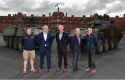 26 April 2018; In attendance at the Leinster GAA Senior Hurling Championship 2018 Launch are, from left, Wexford selector Seoirse Bulfin, Offaly manager Kevin Martin, Kilkenny manager Brian Cody, Galway manager Mícheál Donoghue and Dublin selector Anthony Cunningham, at McKee Barracks in Cabra, Dublin. Photo by Seb Daly/Sportsfile