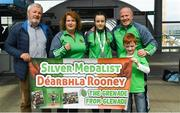 26 April 2018; Silver Medallist Déarbhla Rooney, center, with from left, Al Morris, coach Alisha Just, coach Michael Carruth and Eoin Rooney during Team Ireland homecoming at Dublin Airport. Photo by Harry Murphy/Sportsfile
