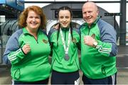 26 April 2018; Silver Medallist Deabhla Rooney with coaches Alisha Just and Michael Carruth during the Team Ireland homecoming at Dublin Airport. Photo by Harry Murphy/Sportsfile