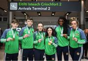 26 April 2018; Team Ireland Boxing Medallists from left, Bronze Medallist Jude Gallagher, Silver Medallist Dean Clancy, Silver Medallist Dearbhla Rooney, Gold Medallist Daina Moorehouse, Siler Medallist Evelyn Igharo and Bronze Medallist Lauren Kelly during Team Ireland homecoming at Dublin Airport. Photo by Harry Murphy/Sportsfile