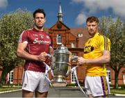 26 April 2018; Gearóid McInerney of Galway, left, and David Dunne of Wexford in attendance at the Leinster GAA Senior Hurling Championship 2018 Launch, at McKee Barracks in Cabra, Dublin. Photo by Seb Daly/Sportsfile