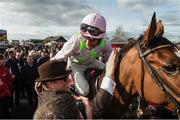 26 April 2018; David Mullins on Faugheen celebrates with owner Rich Ricci after winning the Ladbrokes Champion Stayers Hurdle at Punchestown Racecourse in Naas, Co. Kildare. Photo by Matt Browne/Sportsfile