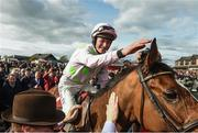 26 April 2018; David Mullins on Faugheen celebrates winning the Ladbrokes Champion Stayers Hurdle at Punchestown Racecourse in Naas, Co. Kildare. Photo by Matt Browne/Sportsfile