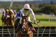 26 April 2018; Faugheen, with David Mullins up, on their way to winning the Ladbrokes Champion Stayers Hurdle after jumping the last at Punchestown Racecourse in Naas, Co. Kildare. Photo by Matt Browne/Sportsfile