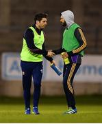 26 April 2018; Injured St Oliver Plnkett's ER player Bernard Brogan shakes hands with Injured Kilmacud Crokes Player Cian O'Sullivan after the Dublin County Senior Football Championship Group 1 match between Kilmacud Crokes and St Oliver Plunkett's at Parnell Park in Dublin. Photo by Harry Murphy/Sportsfile