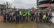 27 April 2018; A group of GAA staff from Croke Park embarked on the #Rollin2Nowlan charity cycle today to raise funds for the Association's five official charities. They will cycle the 140km from Croke Park to Nowlan Park in Kilkenny for the GAA's five official charities for 2018 – Mayo/Roscommon Hospice Foundation, Cavan/Monaghan Palliative Care Fund, Jack & Jill Children's Foundation, Concern Worldwide, and Kerry Hospice Foundation. Uachtarán Cumann Lúthchleas Gael John Horan was in attendance as the GAA staff cyclists set off from the Michael Cusack statue at the back of the Cusack stand in Croke Park. The team will make pit-stops at Clane in Kildare and Ballylinan in Laois before arriving in Nowlan Park at roughly 5.00pm, so keep an eye out for them on the route. Photo by Ray McManus/Sportsfile