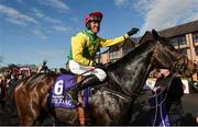 27 April 2018; Robbie Power on Supasundae celebrates winning The BETDAQ 2% Commission Punchestown Champion Hurdle at Punchestown Racecourse in Naas, Co. Kildare. Photo by Matt Browne/Sportsfile