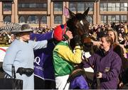 27 April 2018; Jockey Robbie Power kisses Supasundae after winning The BETDAQ 2% Commission Punchestown Champion Hurdle at Punchestown Racecourse in Naas, Co. Kildare. Photo by Matt Browne/Sportsfile
