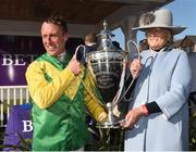 27 April 2018; Robbie Power, left, with trainer Jessica Harrington after winning The BETDAQ 2% Commission Punchestown Champion Hurdle with Supasundae at Punchestown Racecourse in Naas, Co. Kildare. Photo by Matt Browne/Sportsfile