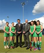 30 April 2018; In attendance, from left, Amy Elliot, Sara Twomey, Eileen Grace, Mark Walsh, Managing partner of Eugene F Collins, Rob Johnson, India Cotter and Ellen Curran at the Eugene F Collins & Hockey Ireland sponsorship announcement at UCD in Belfield, Dublin. Photo by David Fitzgerald/Sportsfile