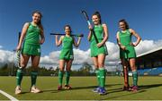 30 April 2018; Ireland hockey players, from left, Amy Elliot, Sara Twomey, Ellen Curran and India Cotter pictured at the Eugene F Collins & Hockey Ireland sponsorship announcement at UCD in Belfield, Dublin. Photo by David Fitzgerald/Sportsfile