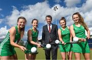 30 April 2018; In attendance, from left, Amy Elliot, Sara Twomey, Mark Walsh, Managing partner of Eugene F Collins, India Cotter and Ellen Curran at the Eugene F Collins & Hockey Ireland sponsorship announcement at UCD in Belfield, Dublin. Photo by David Fitzgerald/Sportsfile