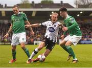 27 April 2018; John Mountney of Dundalk is tackled by Karl Sheppard, left, and Jimmy Keohane of Cork City during the SSE Airtricity League Premier Division match between Cork City and Dundalk at Turner's Cross, in Cork. Photo by Eóin Noonan/Sportsfile
