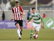 27 April 2018; Eoin Toal of Derry City in action against Aaron Bolger of Shamrock Rovers during the SSE Airtricity League Premier Division match between Derry City and Shamrock Rovers at Brandywell Stadium, in Derry. Photo by Oliver McVeigh/Sportsfile