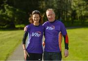 28 April 2018; Former World Champion and Olympic Silver medallist Sonia O'Sullivan completed her 100th parkrun at Cabinteely parkrun on Saturday morning where Vhi hosted a special event to celebrate the achievement. More than 400 parkrunners and volunteers enjoyed refreshments in the Vhi Relaxation Area where a physiotherapist took participants through a post-event stretching routine. parkrun in partnership with Vhi support local communities in organising free, weekly, timed 5k runs every Saturday at 9.30am. To register for a parkrun near you visit www.parkrun.ie. Pictured is Sonia O'Sullivan with Vhi representative Declan Moran before the race. Photo by Piaras Ó Mídheach/Sportsfile