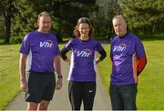 28 April 2018; Former World Champion and Olympic Silver medallist Sonia O'Sullivan completed her 100th parkrun at Cabinteely parkrun on Saturday morning where Vhi hosted a special event to celebrate the achievement. More than 400 parkrunners and volunteers enjoyed refreshments in the Vhi Relaxation Area where a physiotherapist took participants through a post-event stretching routine. parkrun in partnership with Vhi support local communities in organising free, weekly, timed 5k runs every Saturday at 9.30am. To register for a parkrun near you visit www.parkrun.ie. Pictured is Sonia O'Sullivan with Vhi representatives Trevor Montgomery, left, and Declan Moran before the race. Photo by Piaras Ó Mídheach/Sportsfile